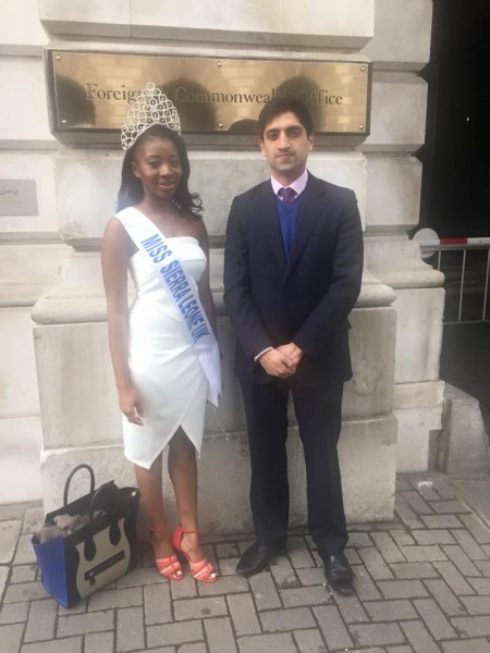 Miss Sierra Leone UK at UK foreign & Commonwealth office.