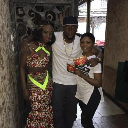 Famous with 1st runner up Miss SL Fashwa luke( left)  and 2nd runner up  Kade Aminata Kamara (right)