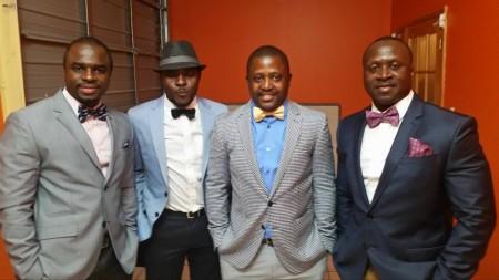 JayPee Amara, Ngeluma Rashid-Noah, Alpha Sesay, and John B. Amara bow tied and dapper enroute to the OBBA fundraiser