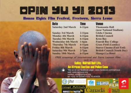 Opin Yu Yi 2013 - Film Festival Schedule