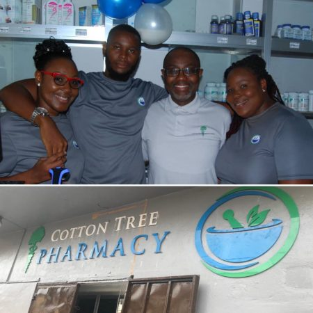 Dr. Fouad Sheriff and the staff of the newly opened Cotton Tree Pharmacy in Freetown, Sierra Leone