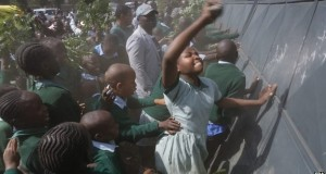 School children protesting at a primary in Nairobi Credit: BBC