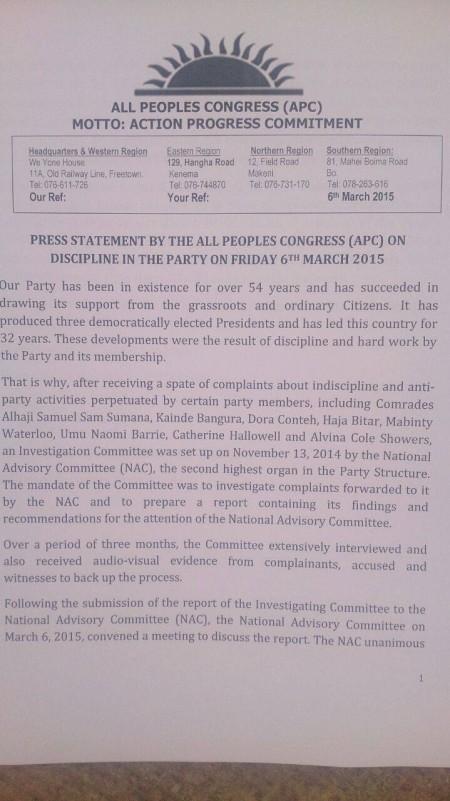APC on Sam Sumana Expulsion