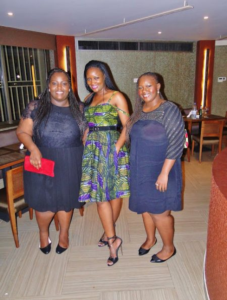 Alice Koroma (first daughter of the President) on the (left) with designer MaryAnn Kaikai and sis (Danke)