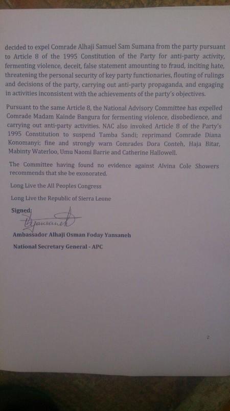All People's Congressn on VP Samsumana 2015