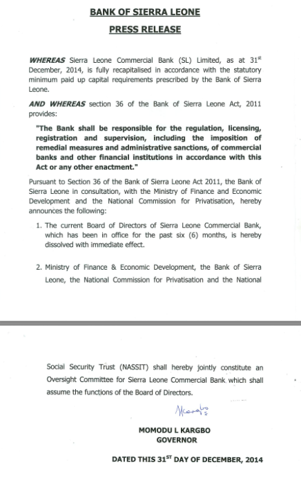 Bank of Sierra Leone Press Release December 31st, dissolves Commercial Bank Board