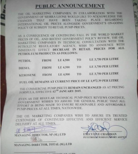 Fuel prices reduced in Sierra Leone annoucedment
