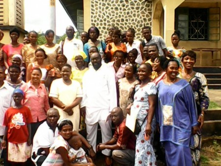 Participants at Sierra Leone's first ebola survivors conference in Kenema, Eastern Sierra Leone in October 2014 was organized by UNICEF in white is the Minister of Gender and Social Welfare M. Kaikai