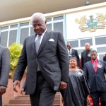 President Koroma leaves the viewing of the late J. E. Atta Mills