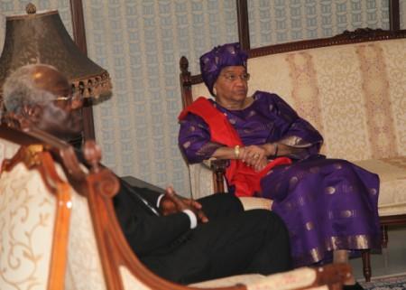 Liberia's Ellen Johnson-Sirleaf in Accra, Ghana