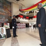President Ernest Bai Koroma pays his last respects to the late President John E. Atta Mills