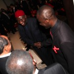 President Goodluck Jonathan talks to other dignitaries at the VIP Lounge of the Accra International Conference Center