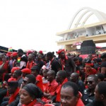 Thousands of Ghanaians in red and black at the Independence square to pay their last respects to President John Atta Mills