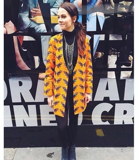 LFW attendee in Sydney Davies' digitally printed tailored jacket