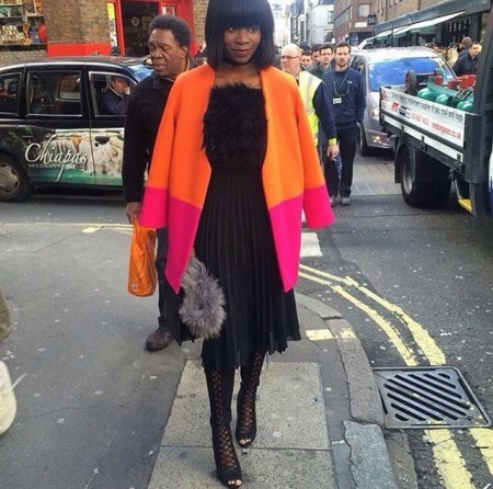 Fab in SD orange pink coat.