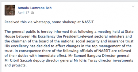 Lamrana Bah posts that NASSIT heads have been fired April 17