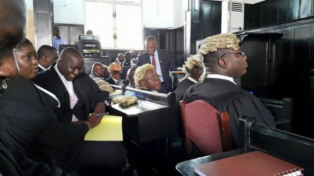 Lawyers awaiting the Supreme Court Justices ruling on VP injunction, photo Nicky Coker