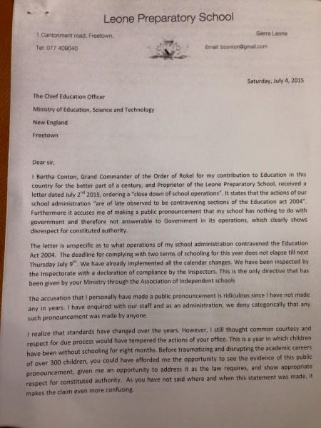 Leone Prep Letter to Ministry fo Education-SchoolClosure-Ebola-SierraLeone