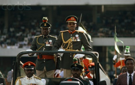 ca. December 1983, Nigeria --- General Muhammadu Buhari, dictator of Nigeria, following a successful coup d'etat against Shehu Shagari. --- Image by © William Campbell/Sygma/Corbis