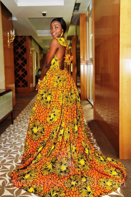 Miss Sierra Leone 2012 Vanessa Williams in stunning yellow and orange africana and the Miss World competition in Ordos, China