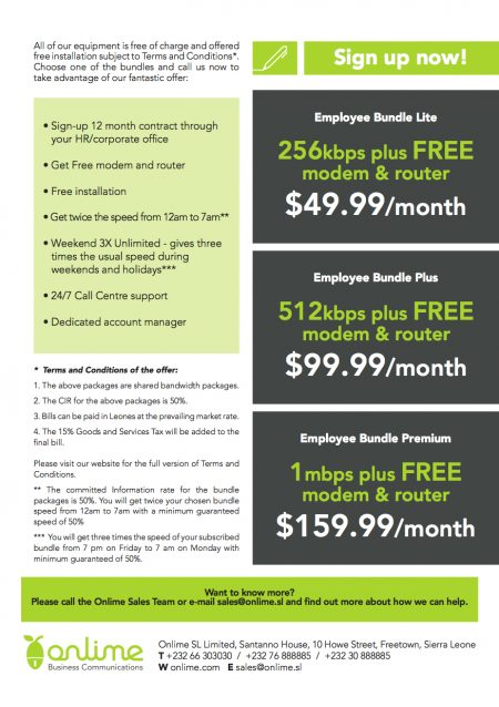 Onlime Employer Internet Offer 2