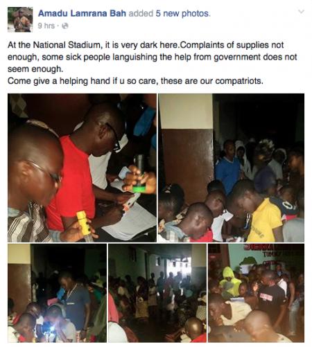 People seeking shelter at the national stadium-floods-SierraLeone