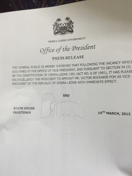 Press Release Office of the President appointing Victor Foh as Vice President of Sierra Leone - March 19 2015