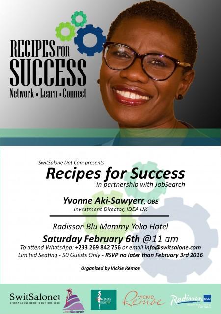Recipes for Success - Yvonne Aki Sawyerr - Poster lrg