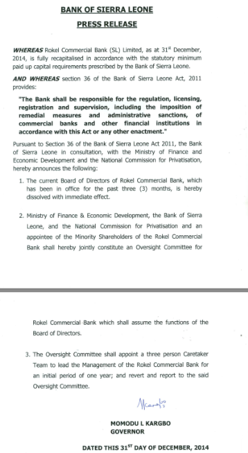 Rokel Commercial Bank board dissolved, December 31 2014, karbgo central bank governor