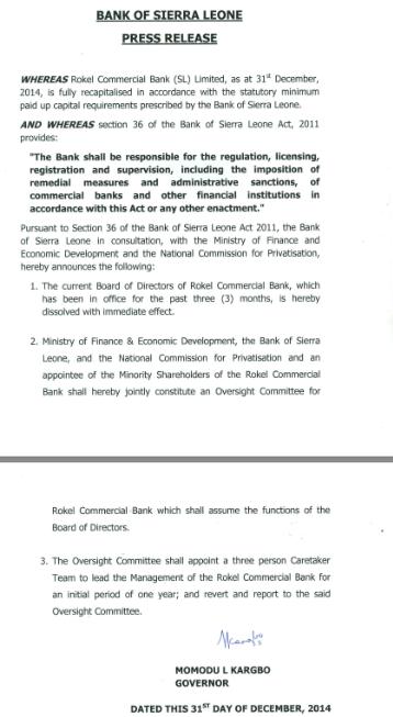 Rokel Commercial Bank board dissolved, December 31 2014, karbgo central bank governor