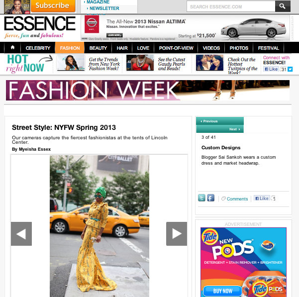 Sai Sankoh NY fashion week 2012 essence africa