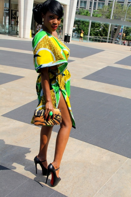 Sai Sankoh in yellow and green cinched mini bubu with side split