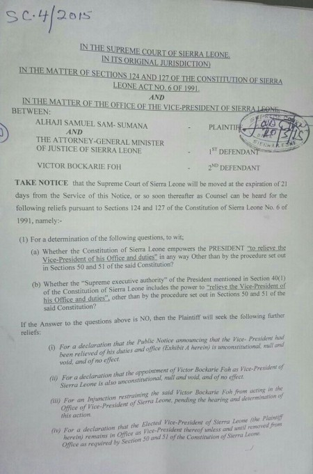 Samuel Sam Sumana vs Minister of Justice, and Victor Foh in Sierra Leone's Supreme Court, original documents scan