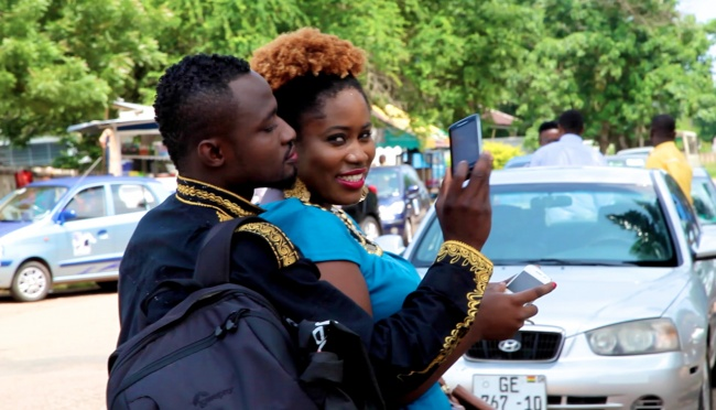 Lydia Forson and Ghanaian Comedian Funny Face outside of Metro TV Studio in Accra, Ghana. They caused quite a stir by pretending to be lovers.