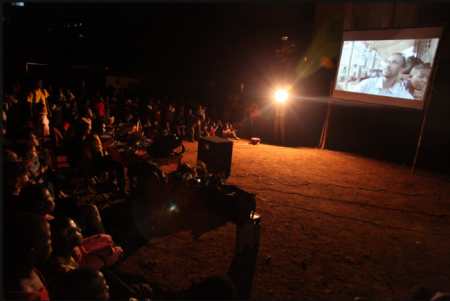 An Opin Yu Yai film screening at Kroo Bay slum in Freetown