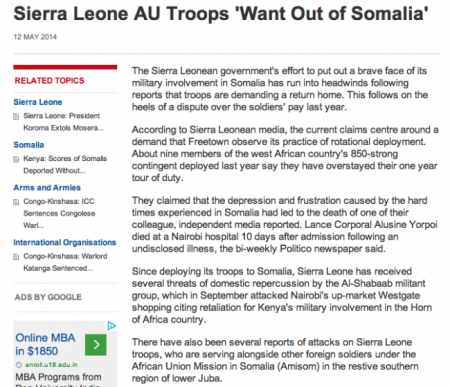 Sierra Leone AU troops want out of Somalia