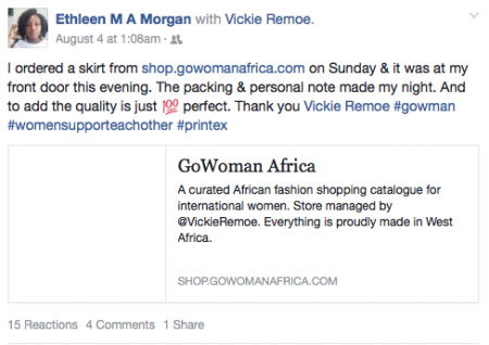Shop.GoWomanAfrica.com customer testimonials