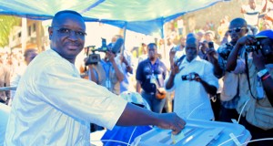 Maada Bio casts his vote in Freetown at the 2012 elections in Sierra Leone  Credit: Vickie Remoe