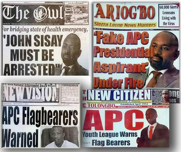 Sierra Leone newspaper headlines after John Sisay declared