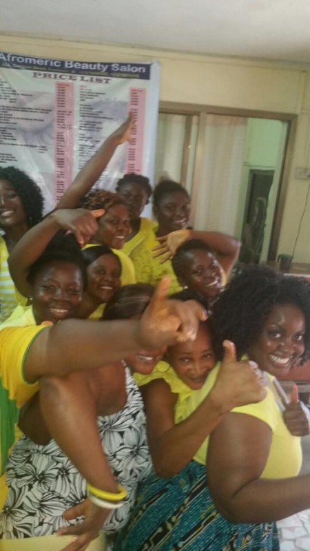 Staff at Afromeric Salon-YellowCampaign-Women-Ebola-SierraLeone