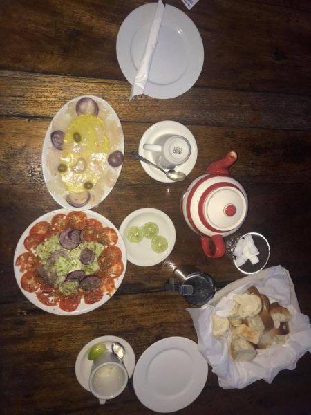 Fish Carpaccio and the Mixed Salad at Franco's