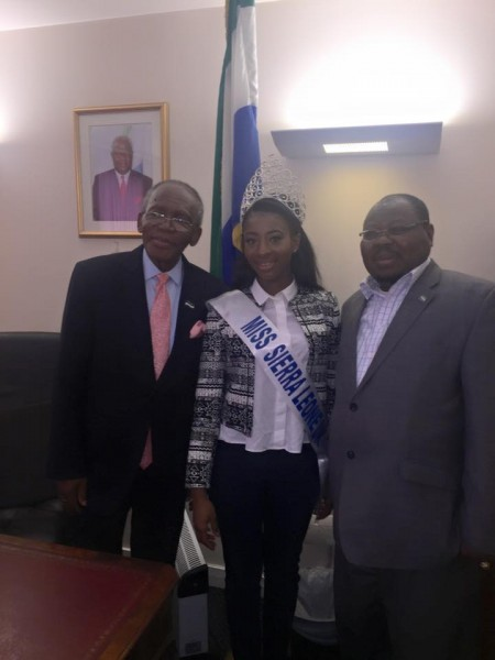 Miss Sierra Leone UK at the Sierra Leone embassy UK with High Commissioner and Deputy .