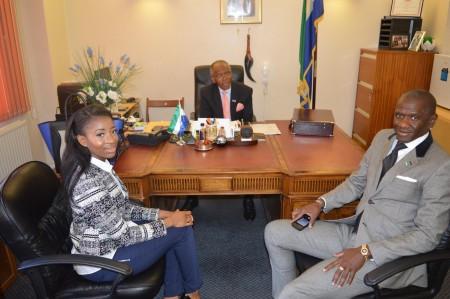 Miss Sierra Leone UK with Sierra Leone Uk High Commissioner & Fashion designer George Hamilton.
